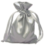 SILVER SATIN POUCH