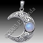 HORNED MOON CRESCENT W/STONE